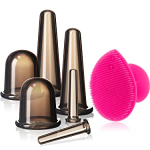 Cupping Facial Set for Face and Eye Cupping Massage, Facial Cupping Set Silicone Cups with Exfoliating Brush for Face Neck Skin (Small Medium Large, Black)