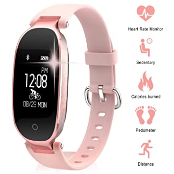 Smart Gym Bracelet, TechCode Bluetooth Waterproof Smart Sports Watch Fashion Ladies Heart Rate Monitor Fitness Tracker Girls Wristband for Android IOS ...