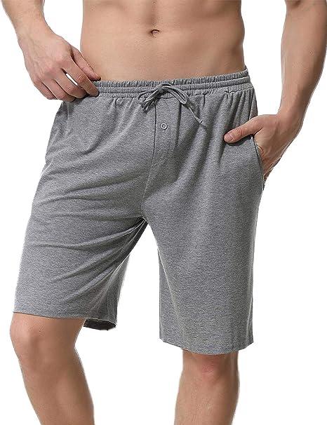 Uomo Pantaloncini per Casa Sportivi Casual Aibrou Pantaloncini da Pigiama Uomo con Anteriore Pulsante Pigiama Pantaloni Corti Pantalone Pigiama Uomo Estivo