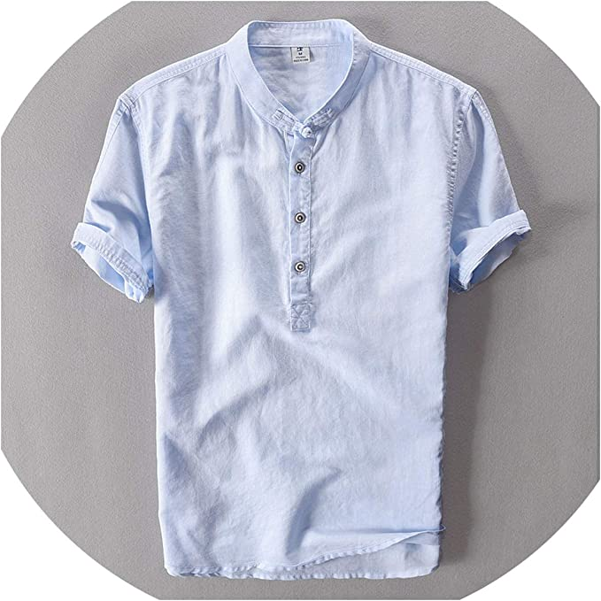 FULLINE Casual Shirts Summer Shirt Loose Thin Cotton Linen Shirt Solid Color O Neck