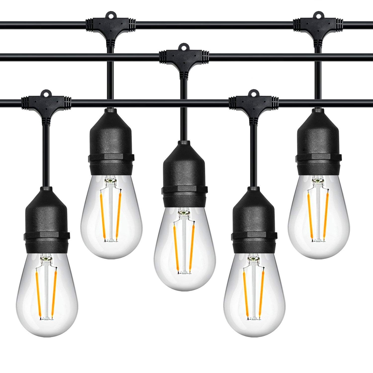 Outdoor String Lights LED Commercial Grade Outdoor Light Strand with Hanging Sockets Dimmable 2 Watt Bulbs 48 Ft Market Cafe Edison Vintage Bistro Weatherproof Strand for Porch Patio Garden Blk