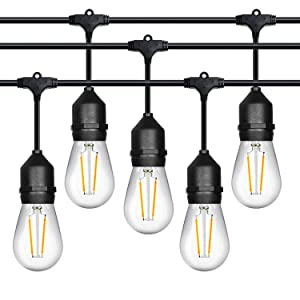 Outdoor String Lights, LED Commercial Grade Outdoor Light Strand with Hanging Sockets - Dimmable 2 Watt Bulbs - 48 Ft Market Cafe Edison Vintage Bistro Weatherproof Strand for Porch Patio Garden -Blk