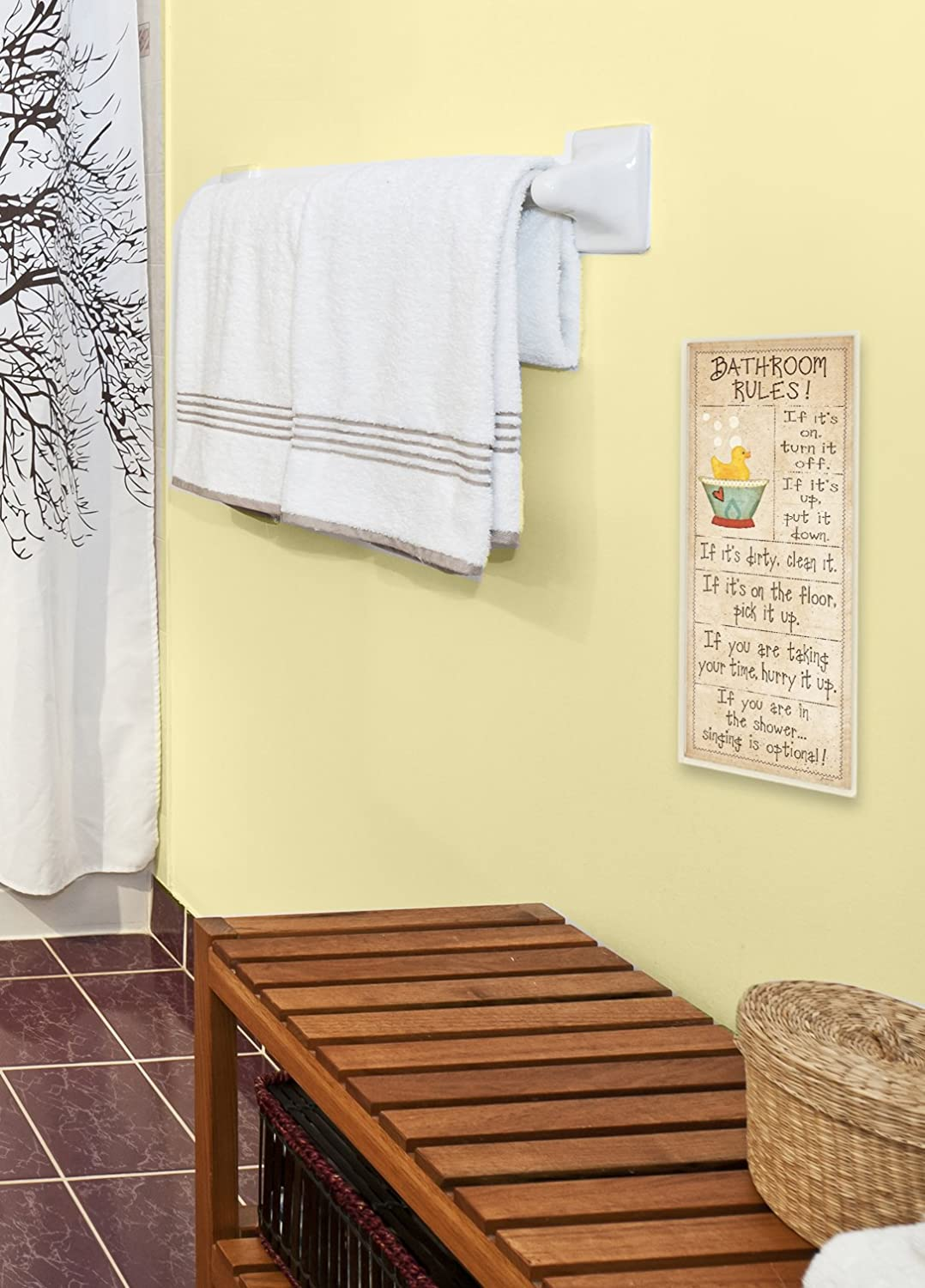 Proudly Made in USA The Stupell Home Décor Collection wrp-1062 stupell;typography;rules;neutral;bath;theme;quote;rubber;duck;brown;tan;words;sign The Stupell Home D/écor Collection Bathroom Rules Rubber Ducky Tall Bathroom Wall Plaque 7 x 0.5 x 17