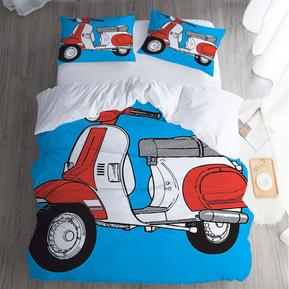 QC Home store Hotel Luxury Bed Sheet Set Sale,Full 3 Piece Set,Funky Decor Cute Scooter Motorcycle Retro Vintage Vespa Soho Wheels Rome Graphic Blue Red White Bed Sheet Set. by QC Home store