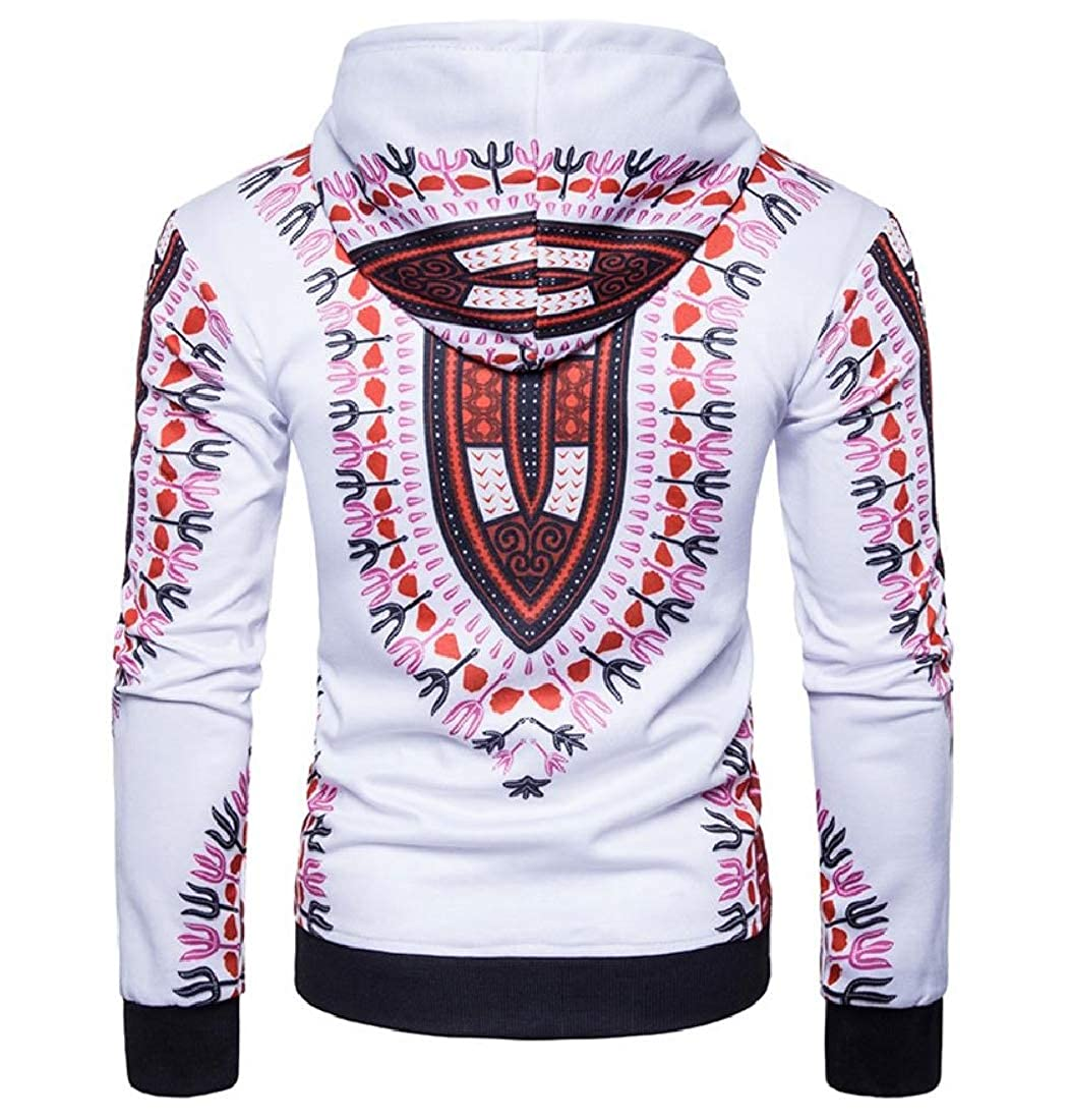 YUNY Mens Casual Slim Long-Sleeve Dashiki African Hoodie Jacket Red M