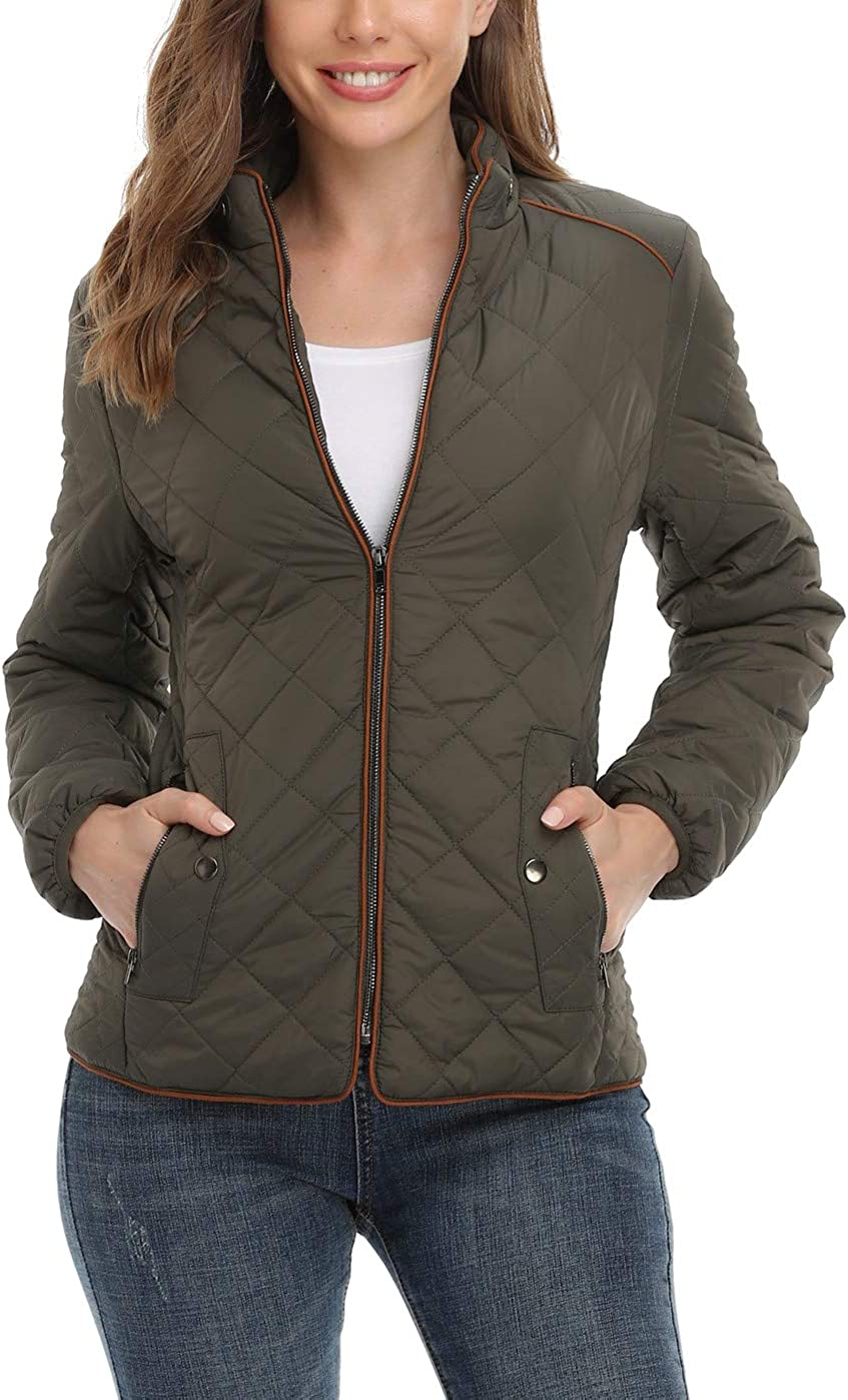 Anienaya Women's Lightweight Quilted Jacket Stand Collar Fully Lined Zip  Warm Outwear w 2 Pockets… at Amazon Women's Coats Shop