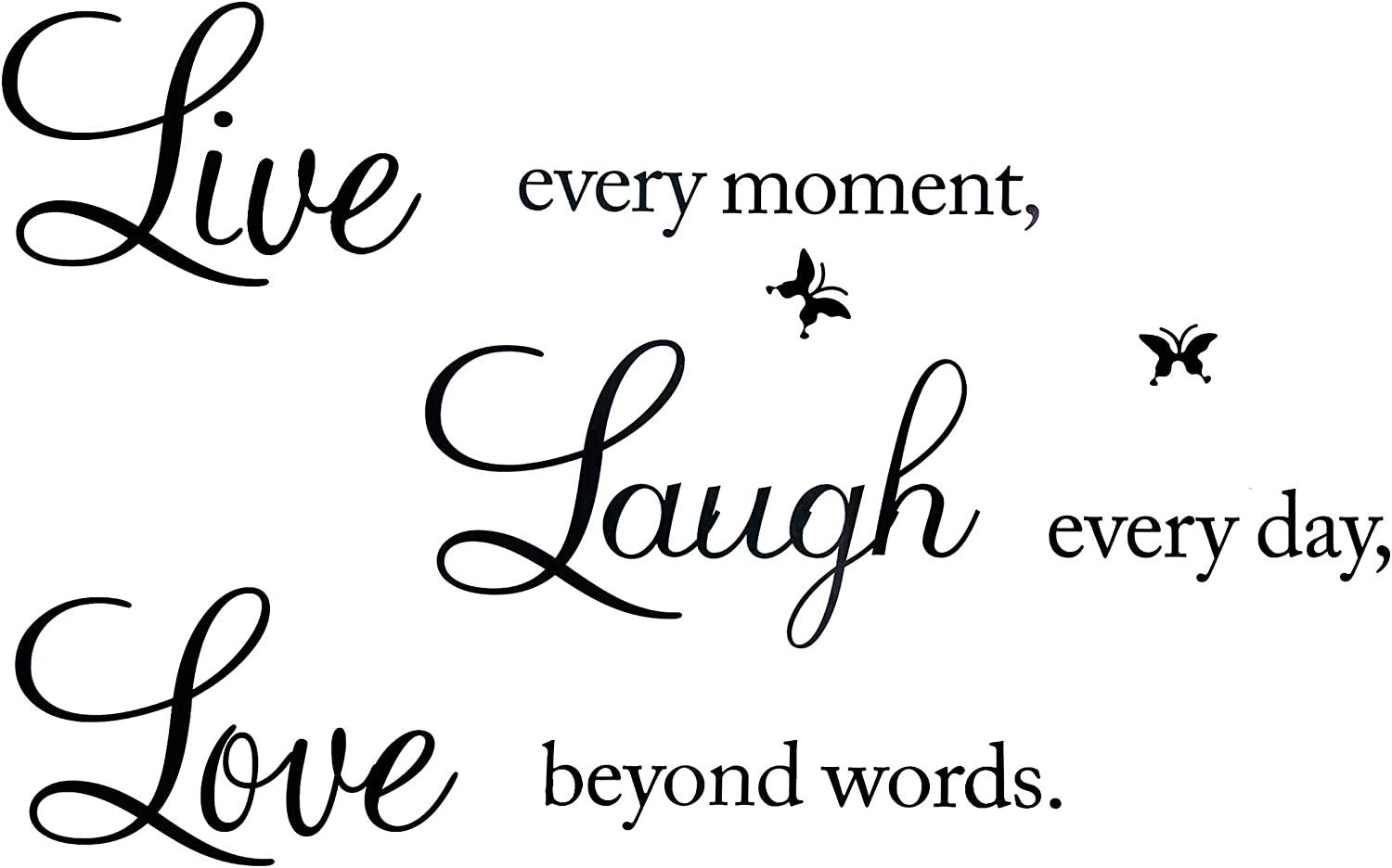 Wall Stickers for Living Room, Live Every Moment, Laugh Every Day, Love Beyond Words Wall Stickers, Family Inspirational Wall Decals for Home Wall Quotes for Bedroom Classroom