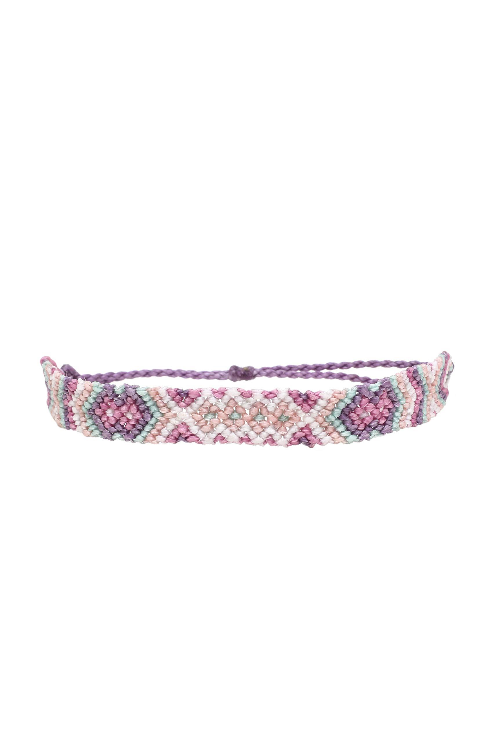 Pura Vida Friendship Macrame Bracelet w/Plated Charm - Adjustable Band, 100% Waterproof - Light Purple by Pura Vida