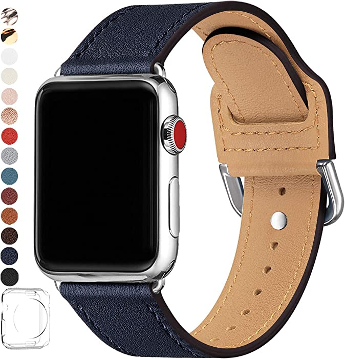 POWER PRIMACY Bands Compatible with Apple Watch Band 38mm 40mm 42mm 44mm, Top Grain Leather Smart Watch Strap Compatible for Men Women iWatch Series 6 5 4 3 2 1,SE(Jewelry Blue/Silver, 42mm/44mm)