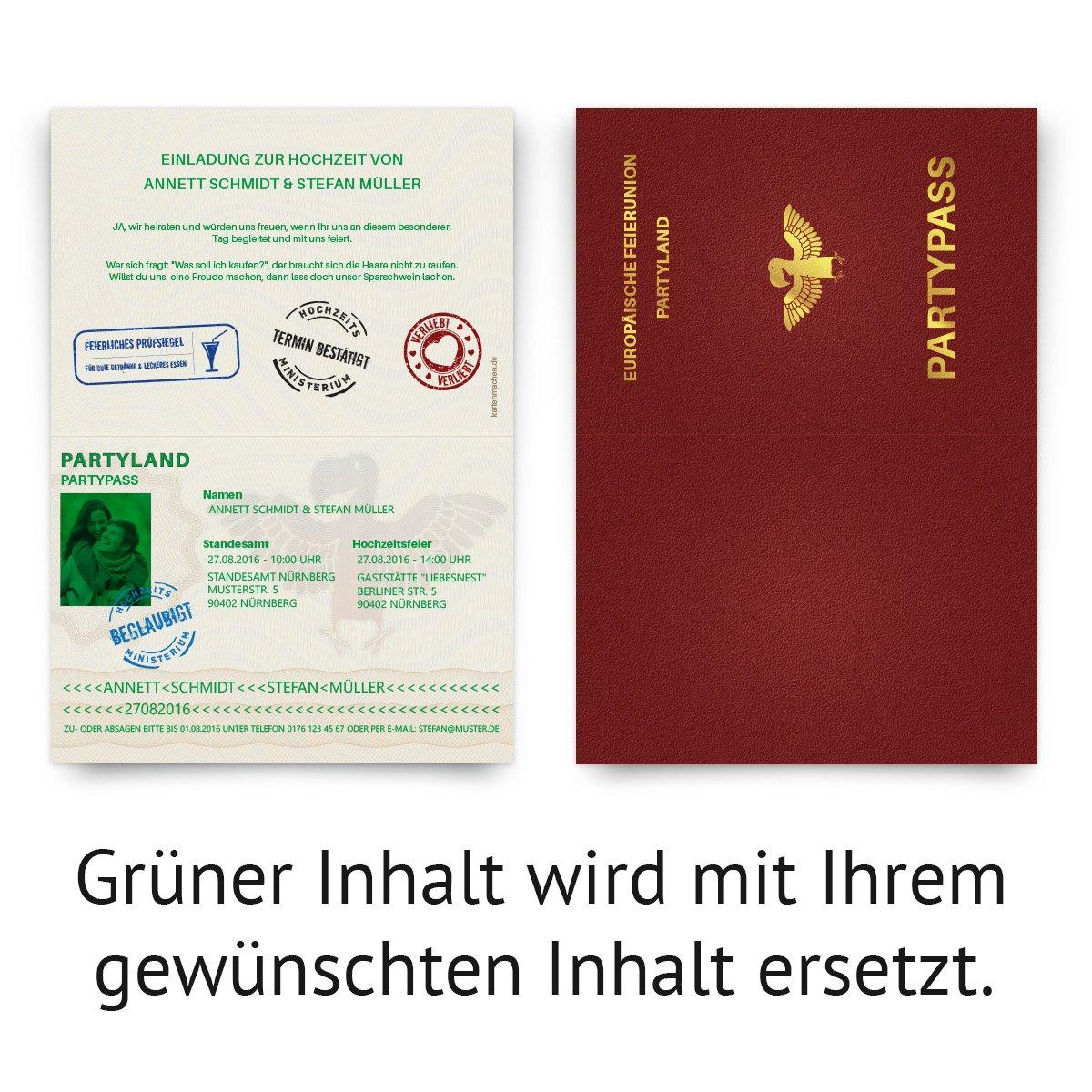 Schön Hochzeitseinladungen (30 Stück) Als Reisepass Ausweis Partypass  Einladungskarten: Amazon.de: Bürobedarf U0026 Schreibwaren