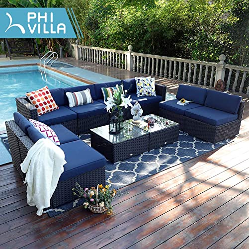 PHI VILLA Outdoor Rattan Sectional Sofa- Patio Wicker Furniture Set 10-Piece, Blue