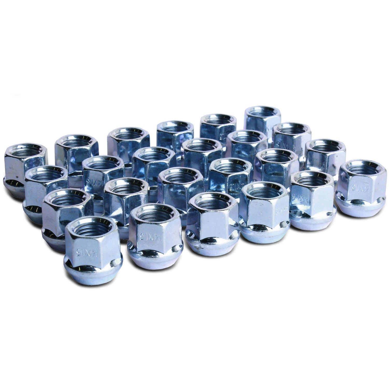 WheelGuard 1109, Zinc Finish, Open-end Acorn Bulge Lug Nuts, M14x1.5 Thread, 3/4 Hex (Pack of 24)