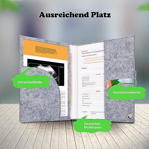Victostar Mutterpassh/ülle aus Filz mit F/ächer f/ür Ultraschallbilder Versichertenkarte passend f/ür den deutschen Mutterpass