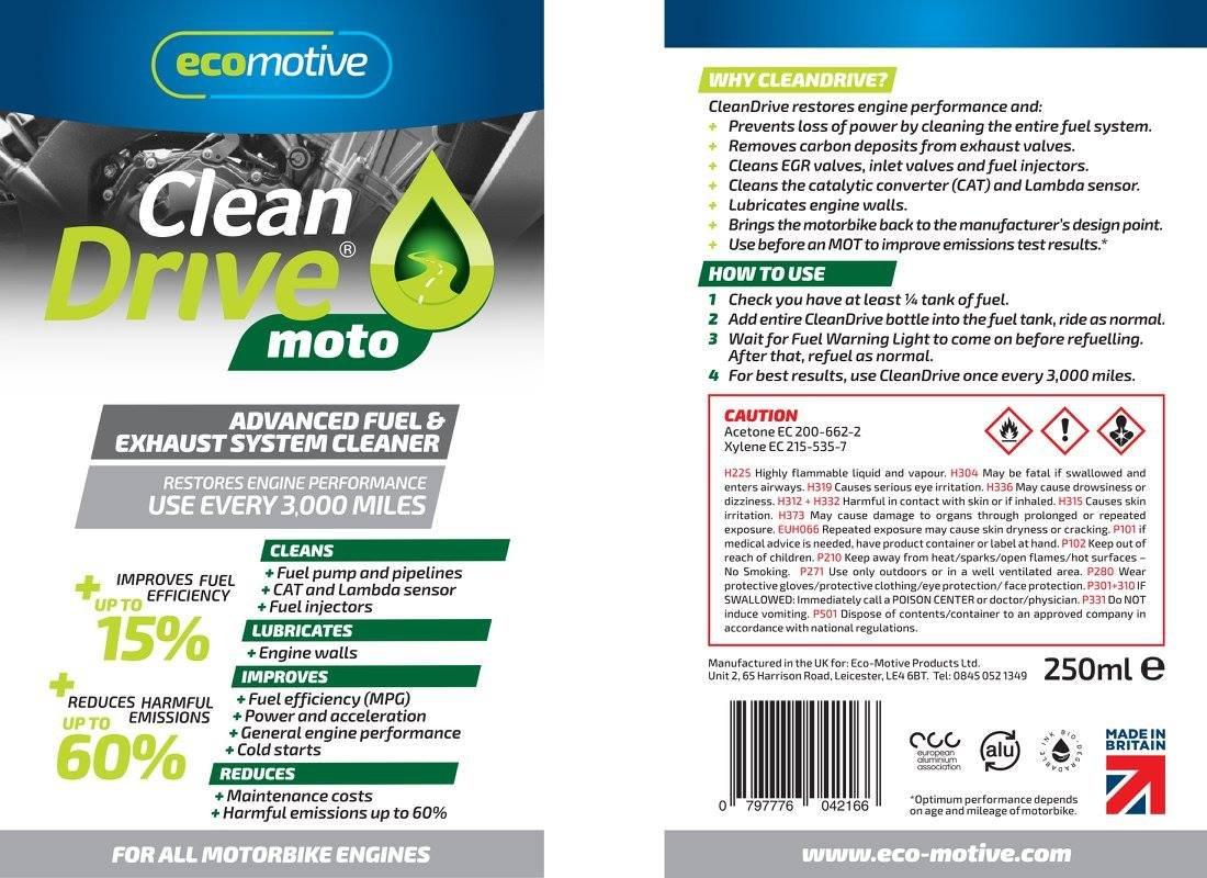 ECO MOTIVE ECD475 CleanDrive 475ml, Enhance Fuel Efficiency (MPG) up to  15%, Improve MOT Test Resutls, Restores Engine Performance
