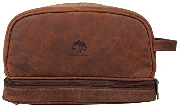 bed33b4662 Image Unavailable. Image not available for. Color  Genuine Leather Travel  Cosmetic Bag - Hygiene Organizer Dopp Kit ...