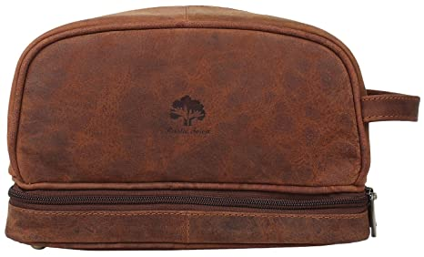 9742e7db9bd4 Rustic Town Genuine Leather Brown Toiletry Bag Cosmetic Grooming Hygiene  Bathroom Pouch Dopp Case Makeup Shaving