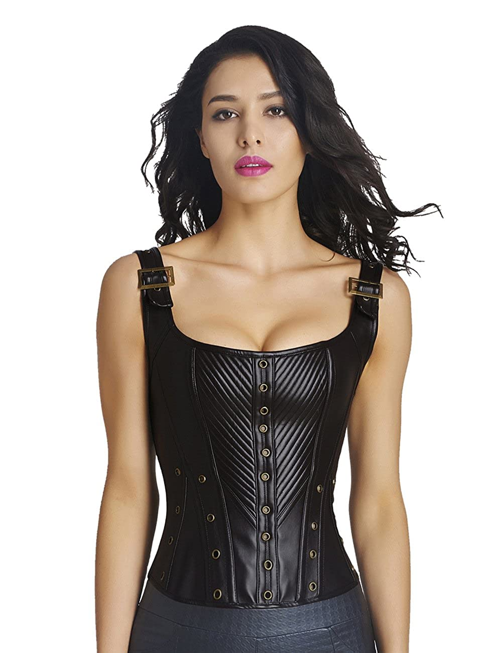 CLOUDY.LEE Women's Steampunk Strap Bustier Gothic Black Leather Corset 8201-XL