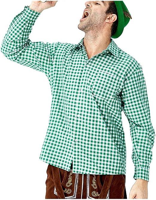 POTOU Camisa para Traje Regional para Hombre, Slim Camisa de Ocio - para Oktoberfest & Tiempo Libre, Verde, Medium: Amazon.es: Hogar
