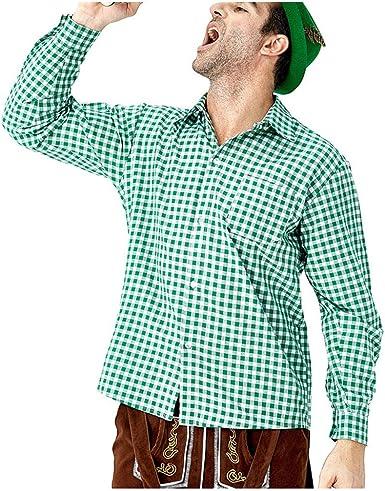 Camisa Hombre Camisas Manga Larga del Festival de la Cerveza de la Tela Escocesa de la Solapa Diaria Floja del Otoño Flojo Verde: Amazon.es: Ropa y accesorios
