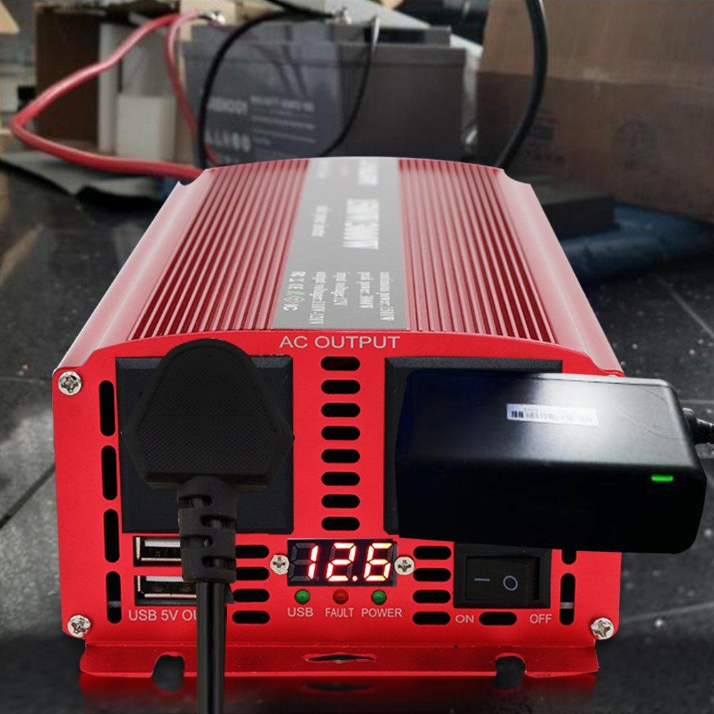 Yinleader Convertisseur onde sinuso/ïdale modifi/ée 12v 220v onduleur 1500W 3000W transformateur de tension