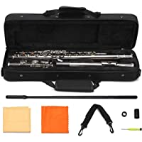 Asmuse™ Flute Set Silver Plated C Foot Flute Closed Holes 16 key Offset G Woodwind Instruments with Carrying Case, Cleaning Cloth and Gloves for Beginner