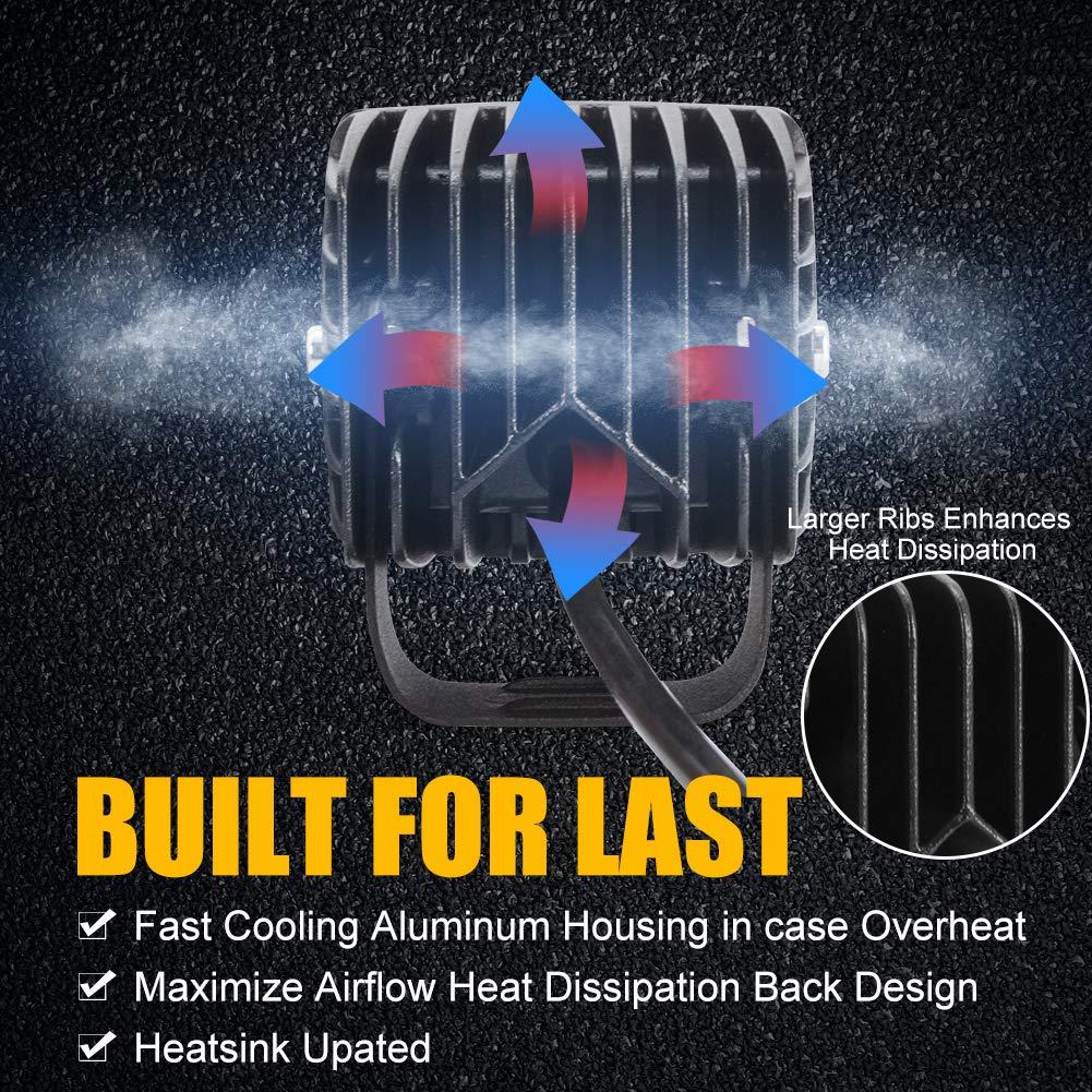3 LED Pods Light Bar,Cube LED Spotlight Off Road Fog Lights Driving Work Lights 24W 12V 24V for Cars Trucks Jeep Boats