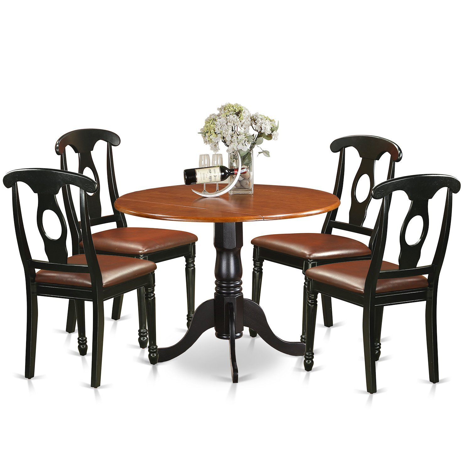 East West Furniture DLKE5-BCH-LC 5 Piece Small Kitchen Table and 4 Dining Chairs Dinette Set by East West Furniture