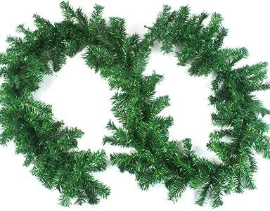 Aamcoam Guirnalda Navidad Chimenea Guirnalda Navidad Pino Artificial Guirnalda Navidad Verde PVC Guirnaldas Navidad Decoracion Guirnaldas de Navidad para Escalera Ventana Interior y Exterior 270cm: Amazon.es: Hogar