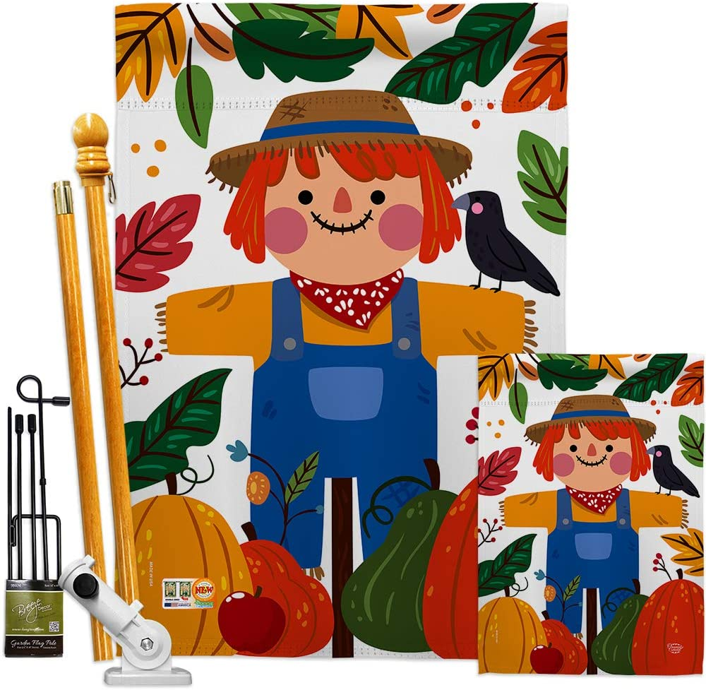 Amazon Com Ornament Collection Harvest Autumn Sweetie Scarecrow Garden House Flags Kit Fall Pumkins Sunflower Leaves Season Autumntime Gathering Small Decorative Gift Yard Banner Made In Usa 28 X 40