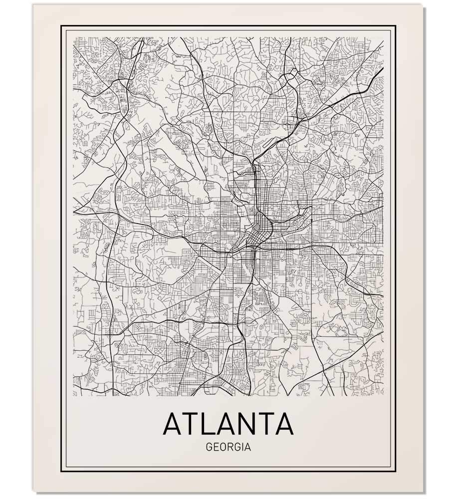 Amazon.com: Atlanta Poster, Map of Atlanta, Atlanta Map, City Map ...