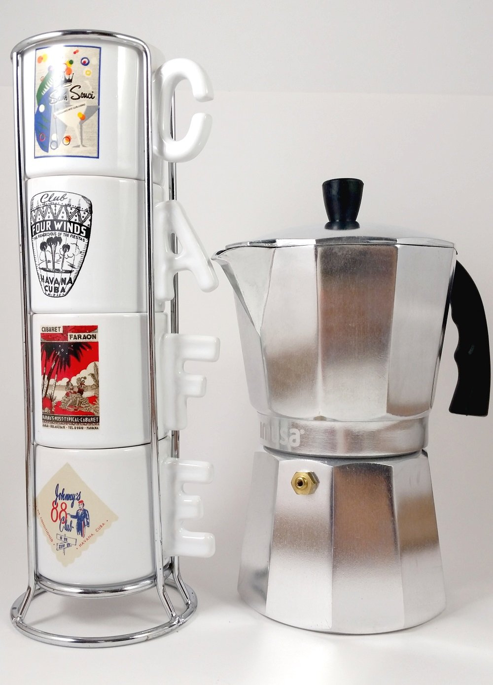 Imusa Classic Aluminum Stovetop Espresso Coffee Maker/Moka Pot 6-cups. Bundled with a White Coffee Mugs Set of 4 Printed with the most Famous Cuban Night Clubs and a Chrome Rack.