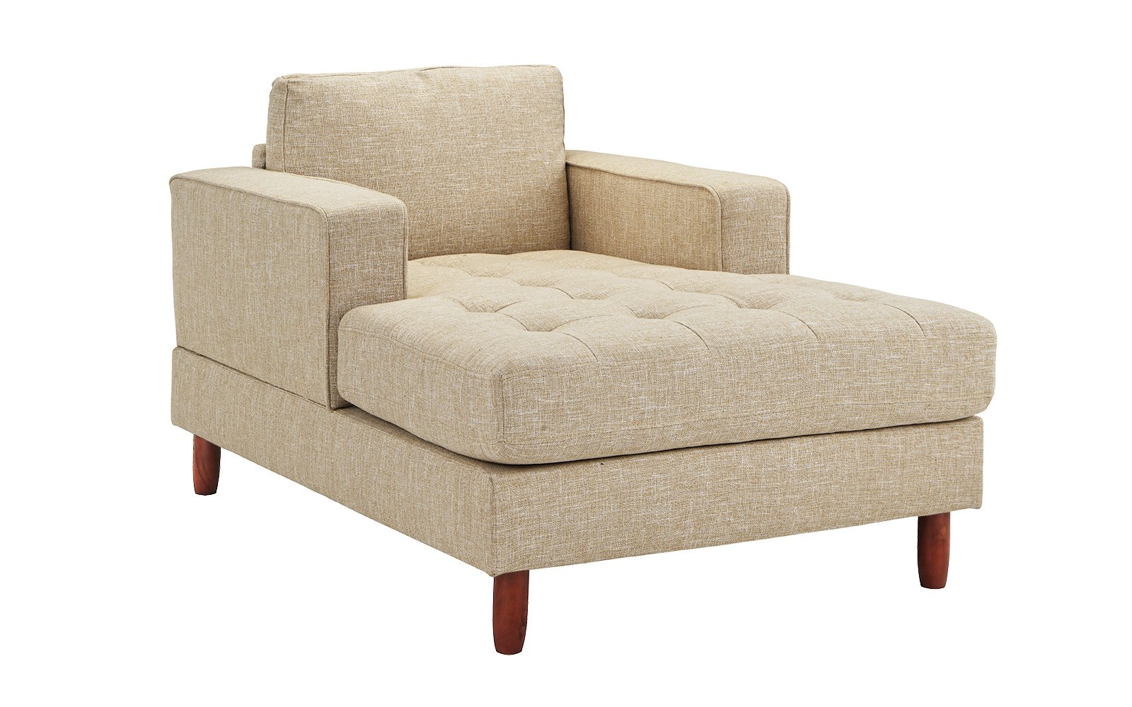 Mid Century Modern Linen Fabric Living Room Chaise Lounge