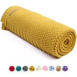 MiMiXiong Knit Baby Blankets Super Soft Swaddle Wrap For Toddler Stroller Bedding Cover (Mustard Yellow)