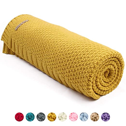 mimixiong Baby Blankets Knit Toddler Blankets for Boys and Girls Mustard Yellow