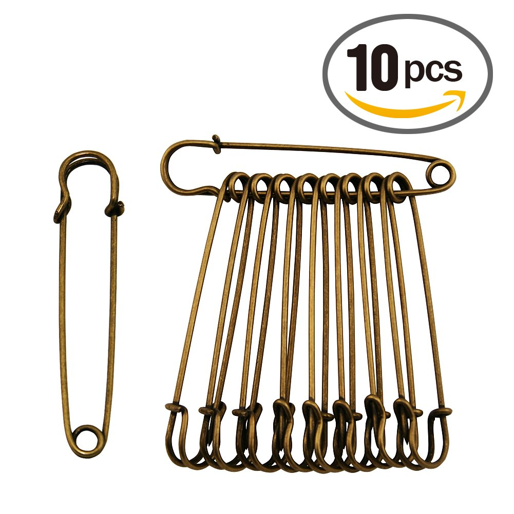 Shop amazon safety pins extra large 4 steel safety bronze pins 10 pcs amipublicfo Gallery