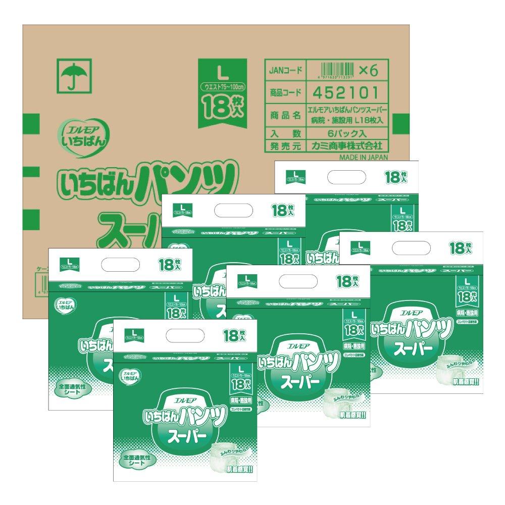 エルモア いちばん パンツ スーパー 病院施設用 Lサイズ 18枚入×6 B0763NM2LQ   18枚×6個