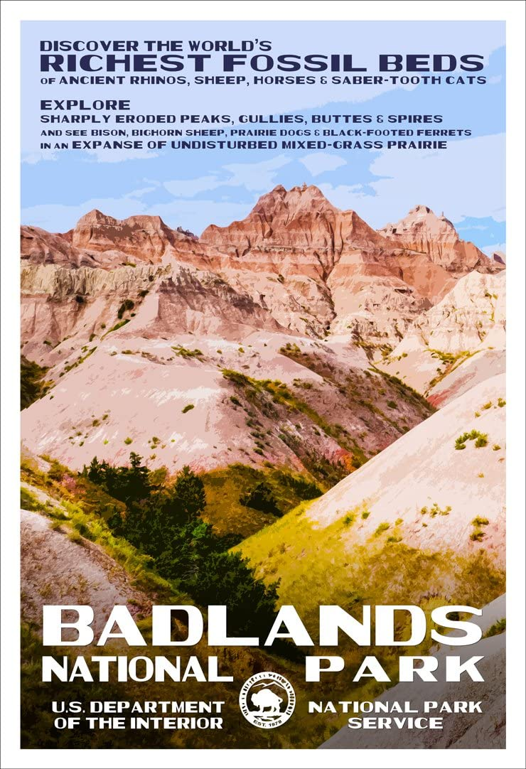 "Badlands National Park Poster - Original Artwork - 13"" x 19"" by Rob Decker - WPA Style"