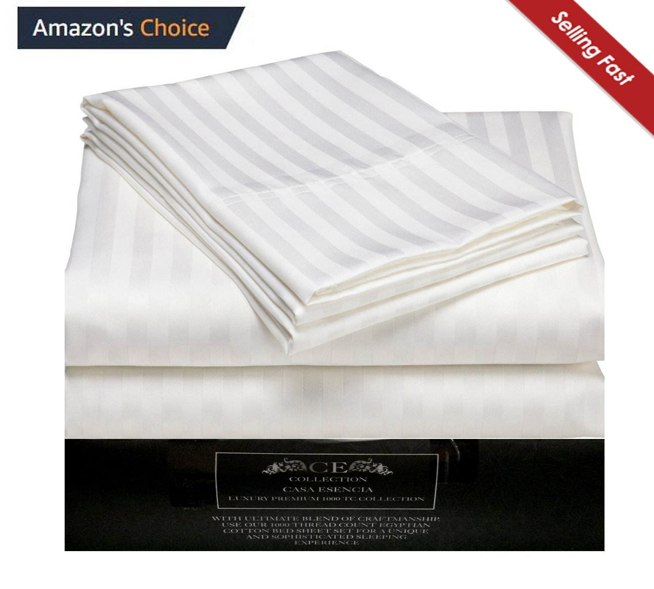 CE CASA ESENCIA King Sheet Set Luxury Soft 100% Egyptian Cotton Bed Sheets for King Size Mattress - White Sateen Striped 1000 Thread Count Deep Pocket 4 Piece Bedding Sets