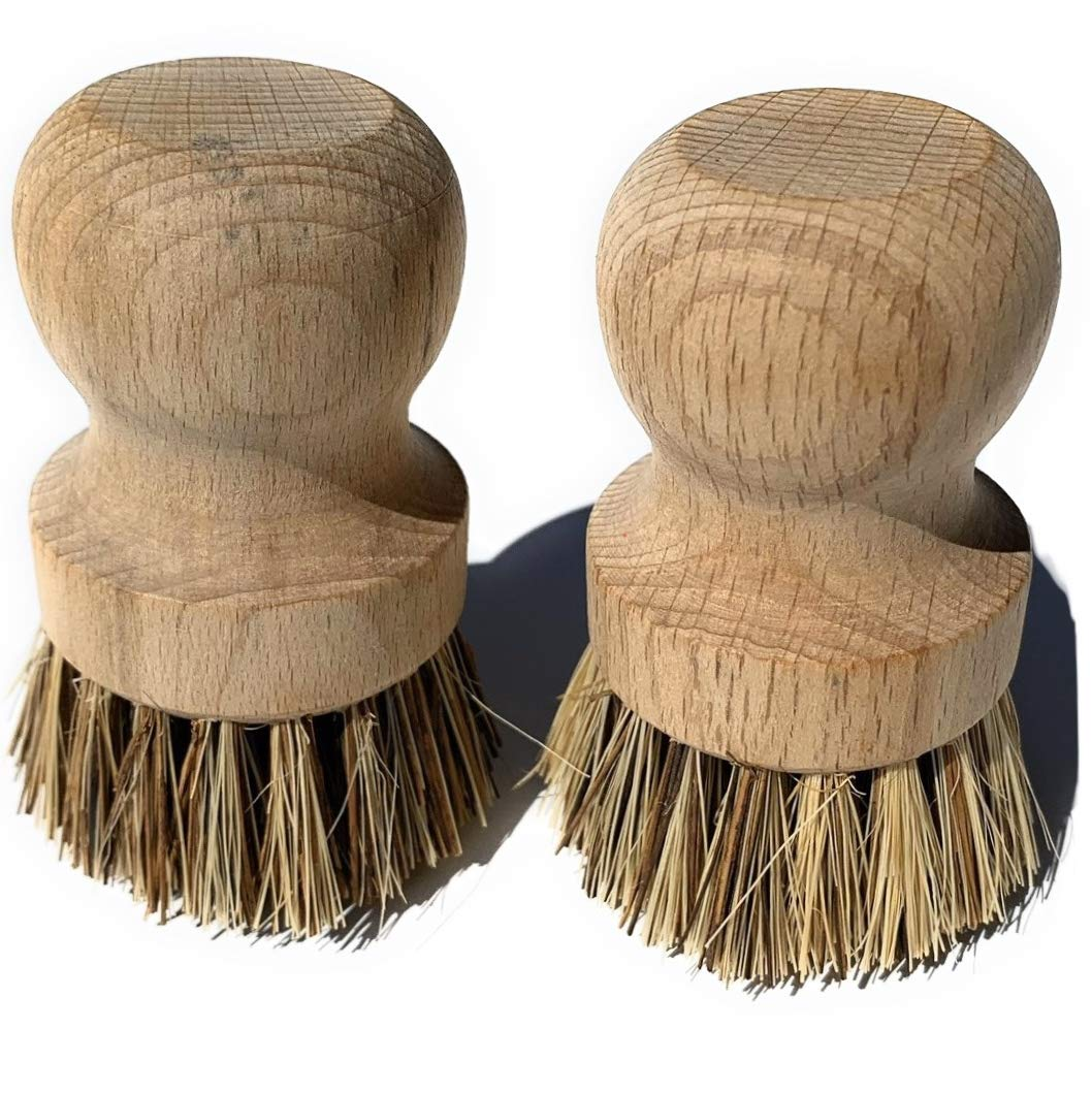 Beechwood handled scrubbers for cast iron pans and dishes.