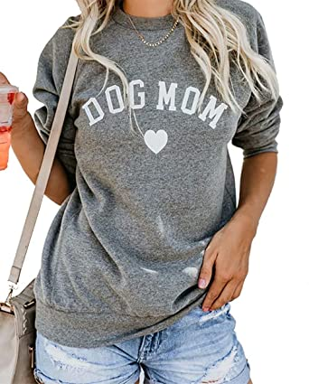 e9f9483652c Yskkt Plus Size Dog Mom Shirts Women Graphic Tees Funny V Neck Long Sleeve  Crew Neck