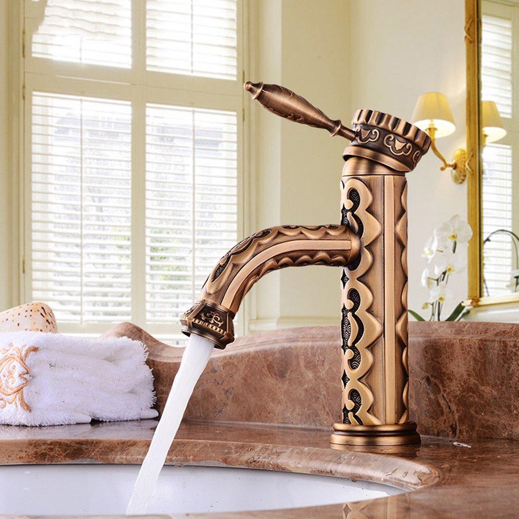 Cqq le robinet Robinet moulé rétro cuivré en acier style européen Imitation ancien Robinet d'eau chaude et froide durable modeling