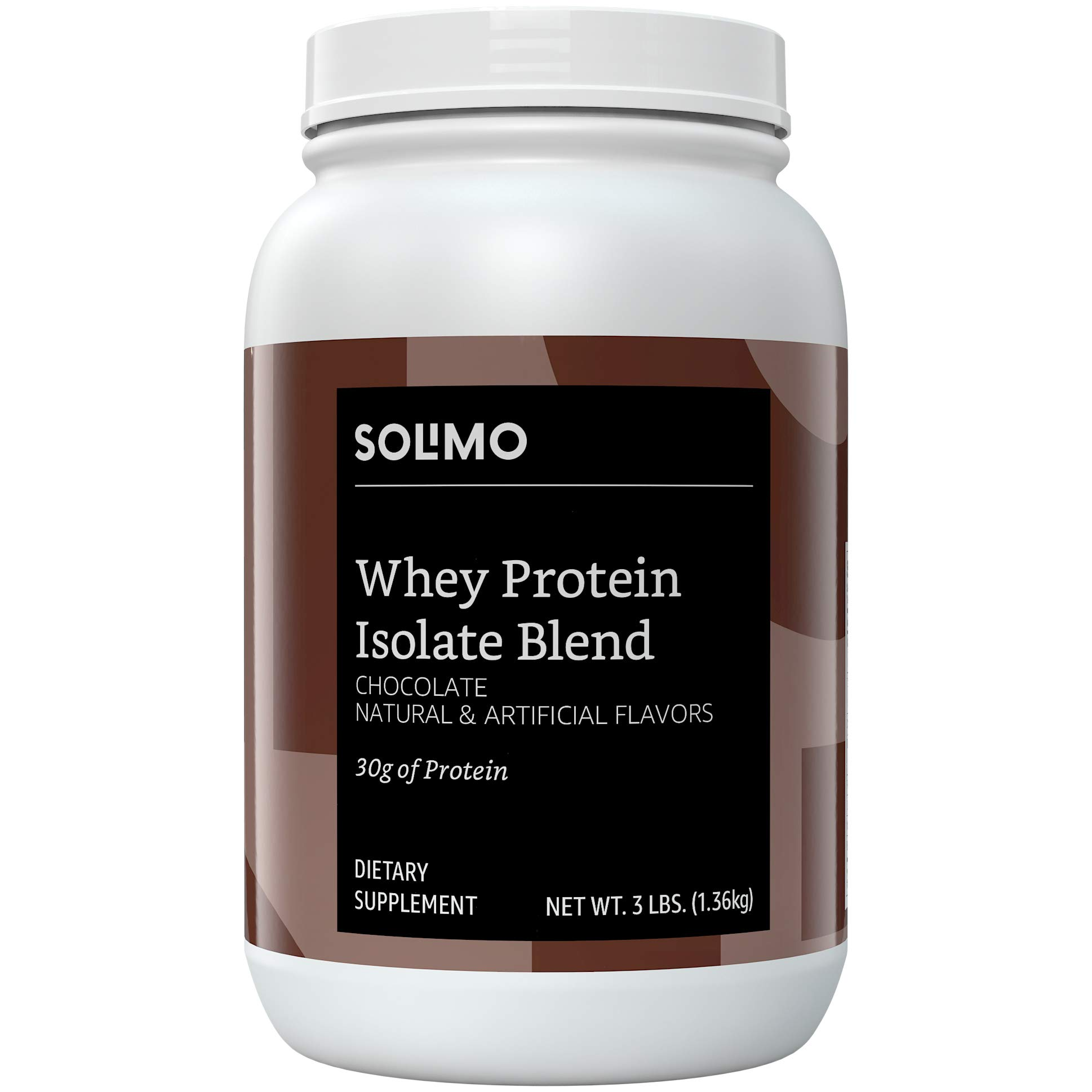 Amazon Brand - Solimo Whey Protein Isolate Blend, Chocolate, 3 Pound (35 Servings)