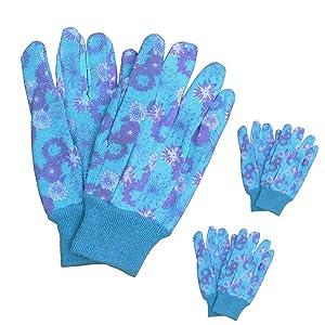 3 Pairs Women Soft Floral Printing Cotton Landscape Gardening Work Grip Gloves