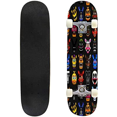 "Lemon Tree Black Outdoor Skateboard 31""x8"" Pro Complete Skate Board Cruiser 8 Layers Double Kick Concave Deck Maple Longboards for Youths Sports : Sports & Outdoors"