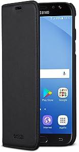Samsung Galaxy J3 2017 Funda Negro - CASEZA Tipo Libro Piel PU Case Cover Carcasa Plegable Cartera Oslo Piel Vegana Premium para Galaxy J3 2017 DUOS (5.0