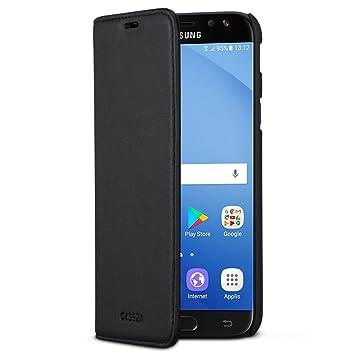 CASEZA Samsung Galaxy J5 2017 Funda Negro Tipo Libro Piel PU Case Cover Carcasa Plegable Cartera Oslo Piel Vegana Premium para Galaxy J5 2017 DUOS ...