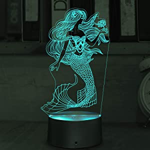 3D Illusion Mermaid Night Lights, Table Lamp USB Powered 7 Colors LED Night Lamp with Smart Touch Ideal for Girls Mermaid Birthday Christmas Gift Room Decor