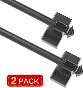 "Turquoize 5/8"" Multi-Use Versatile Adjustable Appliance Magnetic Rod Extends from 16 inch to 28 inch Magnetic Cafe Curtain Rod Easy Installation Adjustable Appliance, Pewter, 2 Pack"