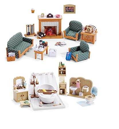Calico Critters Living Room.Amazon Com Calico Critters Deluxe Living Room Set And