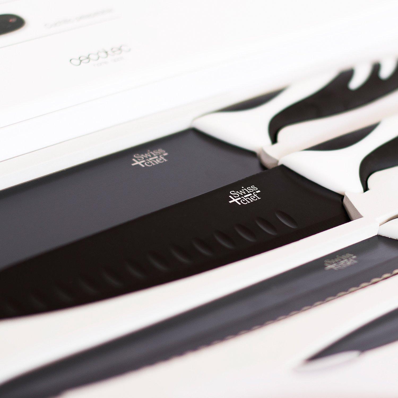 Compra Cecotec Juego de 6 Cuchillos de Cocina de Alta Gama. Cuchillos Profesionales de Estilo Suizo. Color Blanco o Negro. Swiss Chef (Negro) en Amazon.es
